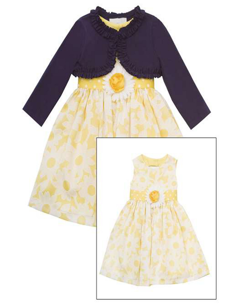 Rare Editions Girls Easter Dress Yellow White Floral Woven Dress with Navy Cardigan 5 at Sears.com