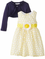 Girls Easter Dress Yellow White Floral Woven Dress with Navy Cardigan