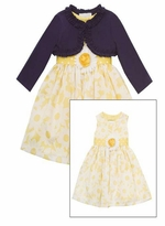 Yellow White Floral Woven Dress with Navy Cardigan