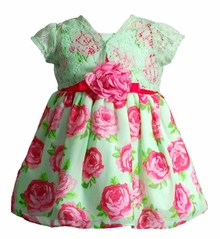Youngland Baby Girls Mint Floral Cardigan Dress