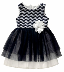 Youngland Girls Navy Chevron Tulle Party Dress