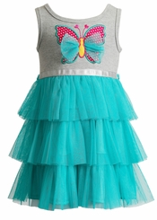 Youngland Infant Girls Gray Butterfly Tutu Dress