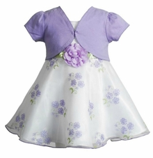 Youngland Little Girls Lilac Floral Cardigan Dress