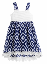 Youngland Little Girls Navy Print Dress