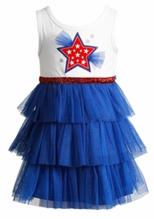 Youngland Little Girls Patriotic Star Pageant Tutu Dress