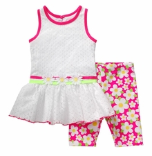 Youngland Little Girls Pink Daisy Capri Set