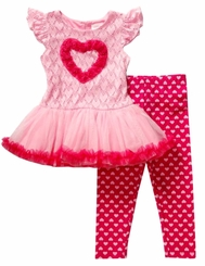 Youngland Little Girls Valentine's Day Pink Heart Tutu Legging Set - sold out