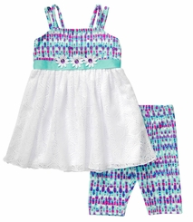 Youngland Little GIrls Purple Rain Daisy Capri Set