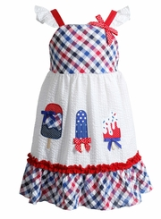 Youngland Little Girls Retro Patriotic Ice Cream Pop Sundress