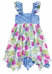 Youngland Little Girls Smocked Floral Retro Dress
