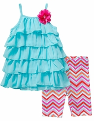 Youngland Little Girls Tiered Ruffle Capri Set