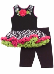 Zebra Print Fuchsia And Lime Tutu Legging Set
