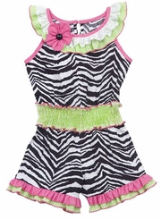 Zebra Print Romper With Fuchsia/ Lime Ruffle Trim