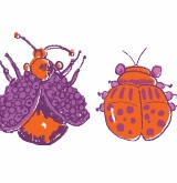 bugs icon lavender and orange