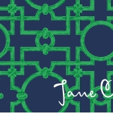 chippendale pattern green and navy