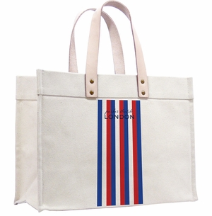 classic canvas tote-wide stripe navy red and white