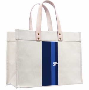 classic canvas tote-wide stripe navy and french blue