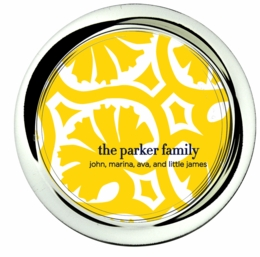 coaster;palm pattern yellow