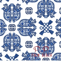 elephant geo pattern  blue and white