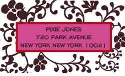 floral pattern- chocolate; address labels