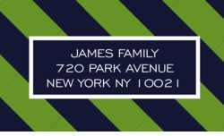 green and navy tie; address labels