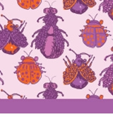 bugs pattern lavender and orange