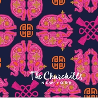 elephant geometric pattern navy and pink
