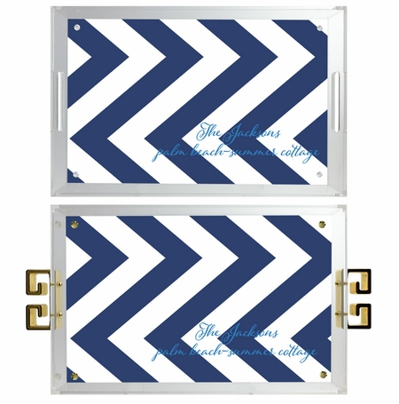 lucite tray-zig zag pattern navy and white