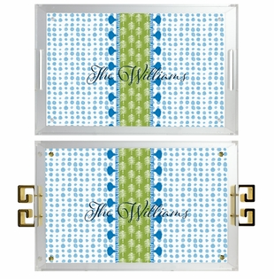 lucite tray-dots blue with palm tree stripe