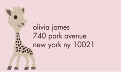 little giraffe- pink; address labels