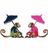 Love Monkeys Navy and Pink