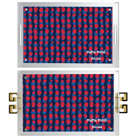lucite tray-dots navy,red and french blue