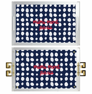 lucite tray- dots navy and white