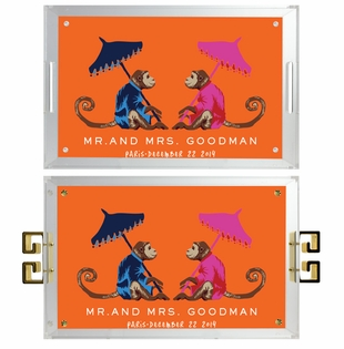 lucite tray- mr.and mrs. monkeys orange
