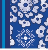 Flower Circle Pattern Blue