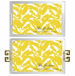 lucite tray-palm beach leaf yellow