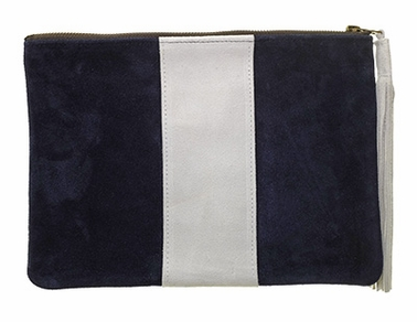 navy with white racing stripe clutch <br>(suede)-11.5 x 8