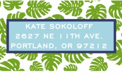 palm leaf; address labels