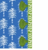 palm pattern french blue with green tassels