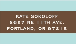 sky blue and chocolate stripe; address labels