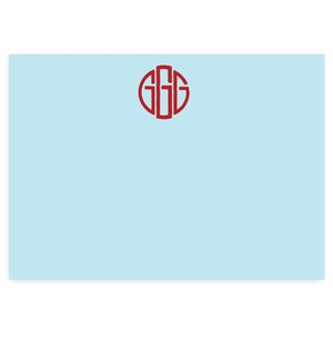 solid pale blue with red monogram