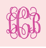 solid pink with cursive monogram