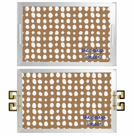 lucite tray-dots pattern tan