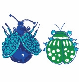 bugs icon blue and green
