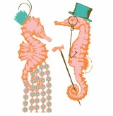 top hat seahorse and lady seahorse