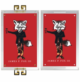lucite tray- james the fox