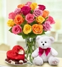 Assorted Roses, 18 stems with Bear & Chocolate