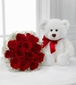 Bear and Red rose  with no vase