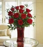 Blooming Love 12 Premium Red Roses in Red Vase