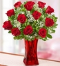 Blooming Love� 12 Premium Red Roses in Red Vase